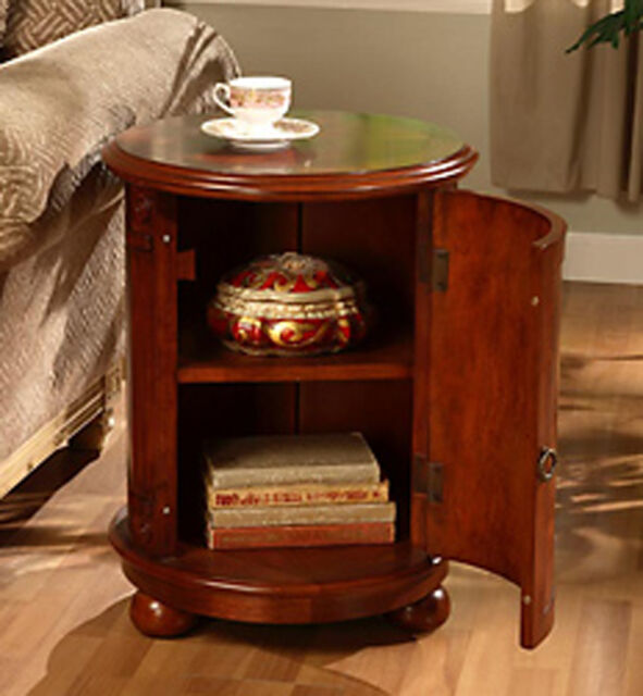 end table round solid wood drum style door vintage storage cabinet shelf cherry ebay. Black Bedroom Furniture Sets. Home Design Ideas