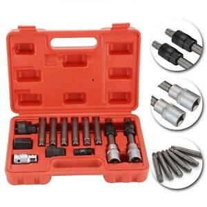 13-Pc-Alternator-Freewheel-Pulley-Car-Garage-Tool-Kit-Hex-Spline-Star-Bits