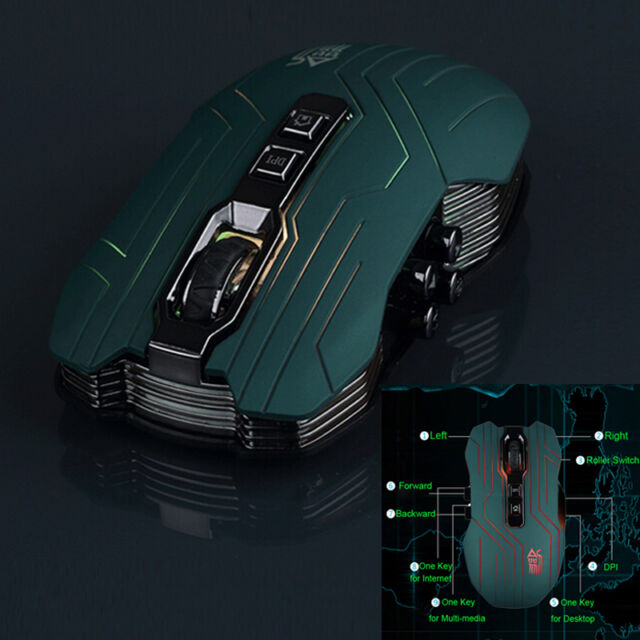 Sword Master 3200DPI Green Optical LED 2.4G Wireless Gaming Mouse For Laptop PC