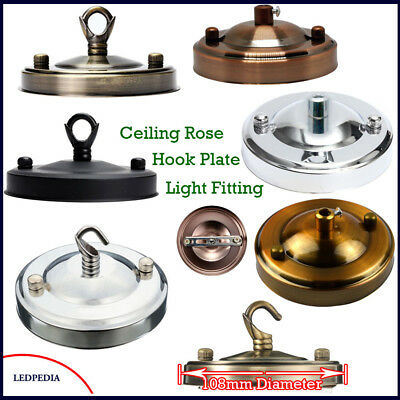 Details about Vintage CeilingRose Hook Ring Plate Light Fitting Chandelier 108mm Choose Finish