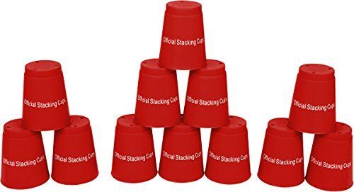 Speed Training Sports Quick Stacking Cups-Set 12 by Trademark Innovations (Red)