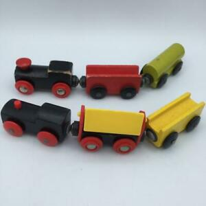 Lot-of-6-Wooden-Trains-cars-vehicles-Thomas-Brio-amp-Melissa-amp-Doug-Compatible