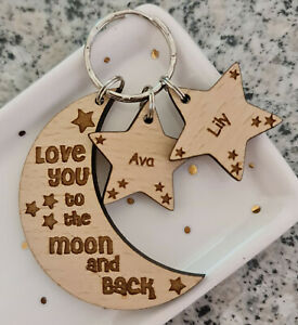 Personalised Fathers Day Moon Stars Wooden Keyring Grandad Dad Daddy Gifts
