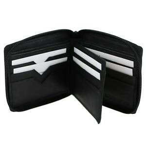 Mens-Gents-Soft-Black-Nappa-Leather-Zip-Around-Wallet-by-Oakridge-Handy