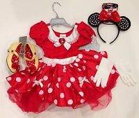 Disney Store Red Minnie Mouse 3 3t Costume Dress Ears Headband Gloves Shoes