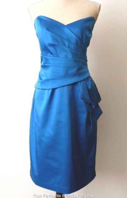 REVIEW - NEW -  rrp $289.99 Size 14 / US 10 Strapless Blue Satin Sheath Dress