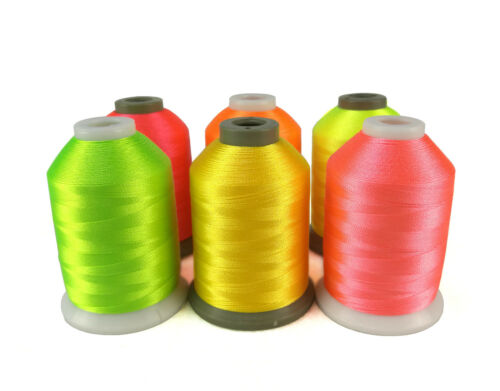 1000 m chaque Simthread Fluo Couleurs Polyester Machine à broder thread 6 bobines