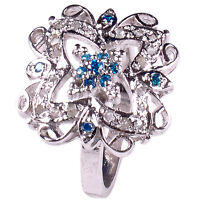 0.62+ ct REAL RAW WHITE NATURAL DIAMOND .925 STERLING SILVER RING SIZE P