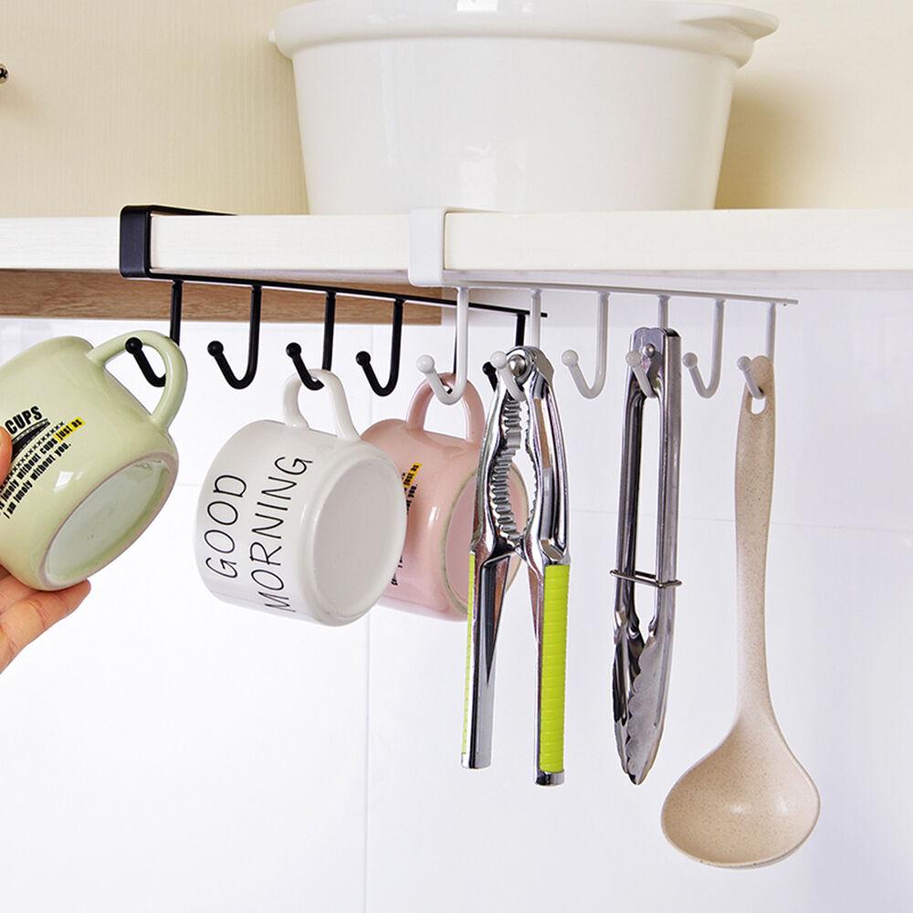 6 hooks cup holder hang kitchen cabinet under shelf storage rack organiser hot ebay. Black Bedroom Furniture Sets. Home Design Ideas