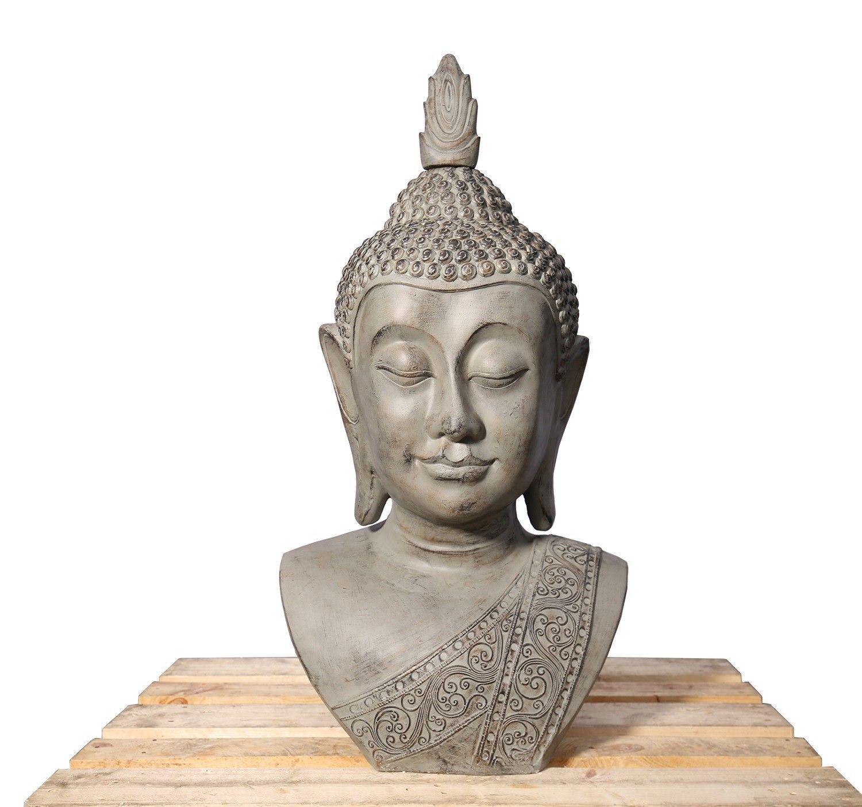XXL Deko Buddha Kopf 113cm Skulptur Steinoptik Indoor-Outdoor Buddha 406150