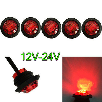 "5X 3/4"" Mini Side Marker Light Lamp Clearance Single indicator LED Red Lens"