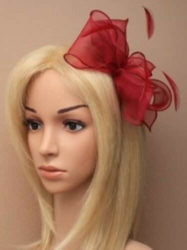 Red Fascinator Wedding Races Prom Ascot Occasion Wholesale Headpiece Clip Band