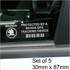 5 x Skoda GPS Tracking Device Security Stickers-Fabia,Octavia-Car Alarm Tracker