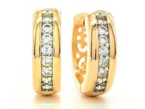 Real-18ct-yellow-gold-plated-hoop-earrings-sparkling-white-round-gems-gift-box