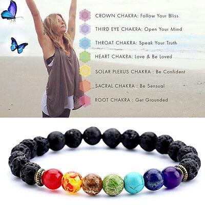 7 Chakra Healing Beaded Bracelet Natural Lava Stone Diffuser Bracelet Womens Hot
