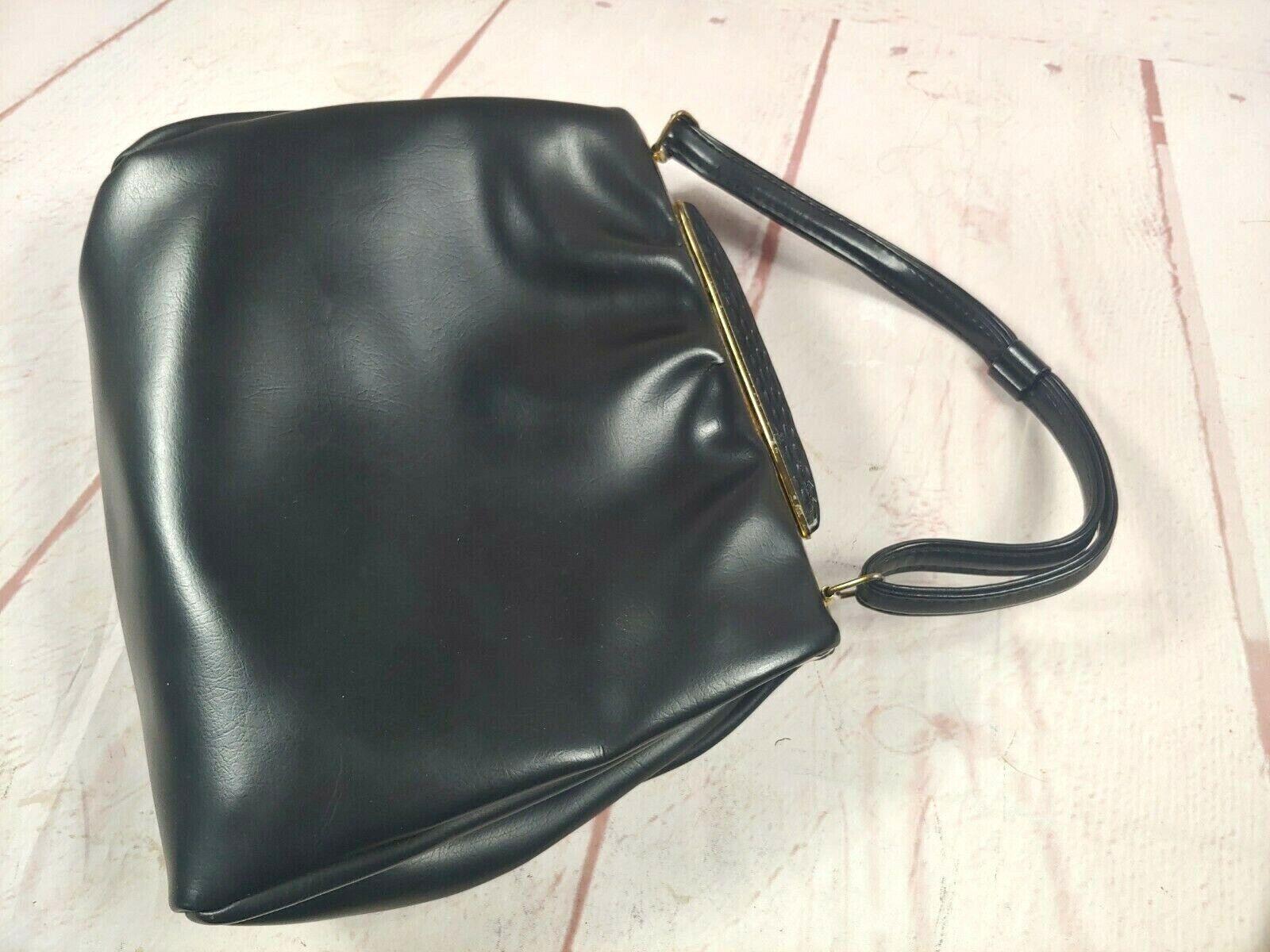 Vintage 1950's Black Leather Top Clasp Single Handle Kelly Handbag