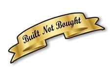 Gold Effect Scroll BUILT NOT BOUGHT Retro Cafe racer Hotrod car Helmet Sticker