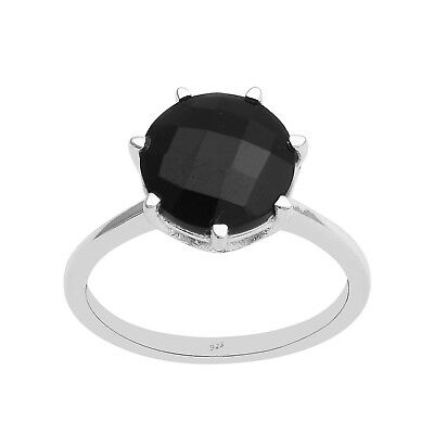Cut Black Spinel Handmade Jewellry 925 Sterling Silver Plated 8 Grams Ring Size 8 US