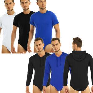 Mens Long Sleeves Hoodie Press Crotch Bodysuit Romper Casual Tops Blouse T-shirt