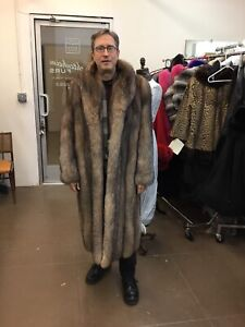 0c6adc2fa Details about MENS MANS FULL LENGTH CRYSTAL FOX FULL LENGTH COAT SHAWL  COLLAR NEW