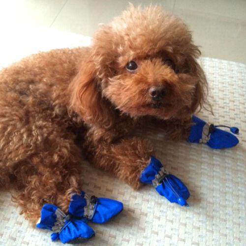 4pcs Winter Waterproof Dog Shoes Anti-slip Rain Snow Boots Fleece Padded Warm