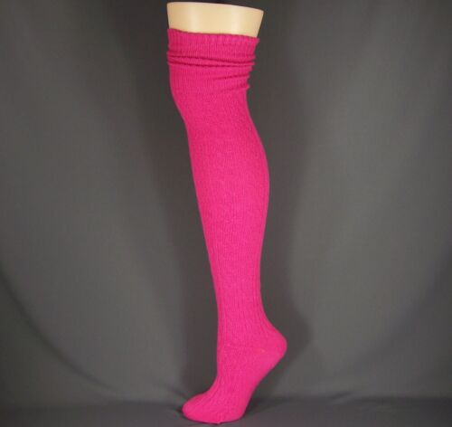 Pink cuffed cable knit long tall boot over the knee under tall boot thigh socks