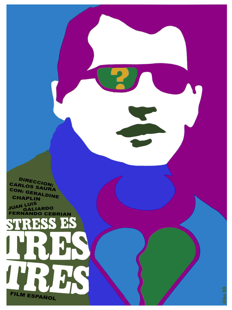 Stress es tres 3 España vintage film POSTER.Graphic Design.Art Decoration.3676