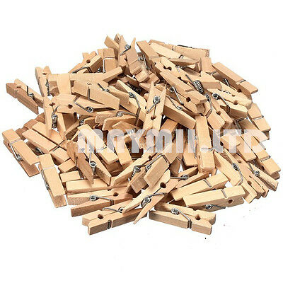 35MM Natural Mini Wooden Clothe Photo Paper Peg Clothespin Craft Clips 50PCS JM