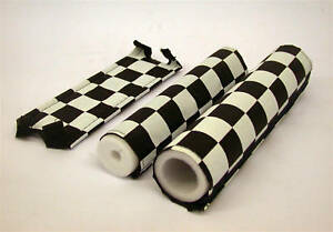 BMX-BLACK-amp-WHITE-CHEQUERED-PAD-SET-3-PC-FRAME-HANDLEBAR-amp-STEM-OLD-SCHOOL-BMX