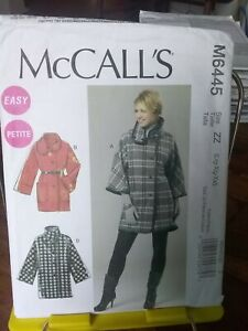 Oop-Mccalls-Easy-6445-misses-unlined-loose-jacket-dolman-high-neck-sz-16-26-NEW
