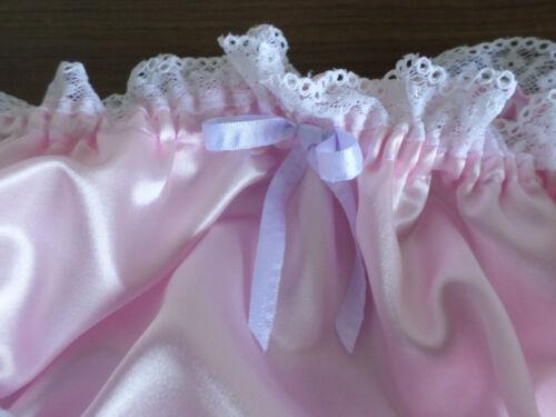 ADULT BABY SISSY PINK SATIN LACE TRIM bikini PANTIES WHITE  BOWS MEDIUM