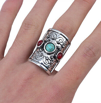 New Hot Fashion Popular Tibetan Vintage Silver Plated Turquoise Adjustable Rings
