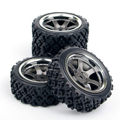 Rubber 4Pcs Rally Tires and Wheel Rims 12mm Hex For HSP HPI RC 1:10 Off Road Car | eBay