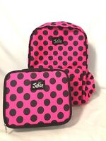 Justice Girls Backpack Lunch Box Set Canvas Hot Pink Polka Dot Super Cute