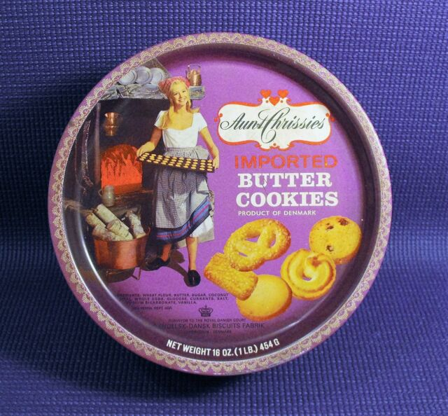 Vintage Aunt Chrissies Danish  Imported Butter Cookies Colorful  Round  Tin
