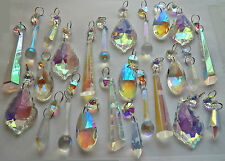 25 GLASS CRYSTALS LIGHT DROPS RETRO AB CHANDELIER BEADS CHRISTMAS TREE ORNAMENTS