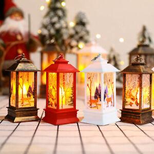 Christmas LED Light Up Lantern Xmas Santa Claus Table Lamp Ornament Decor