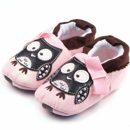 NWT Baby Girls Pink Owl Soft Sole Crib Shoes Booties 0-6 M 6-12 M 12-18 M