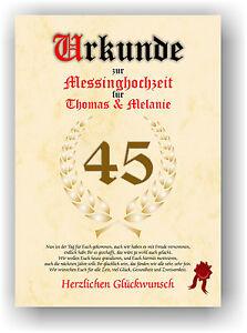 Messinghochzeit Urkunde Zum 45 Hochzeitstag Geschenkidee Messing