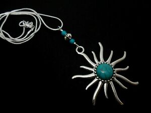 """18/"""" CHAIN. NEW A TURQUOISE SUN THEMED NECKLACE AND LEVERBACK HOOK EARRING SET"""