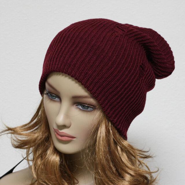Men Women Crochet Knit Oversize Baggy Beanie Slouch Unisex Hat Vintage Ski  Cap
