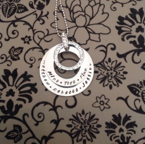 Personalised  Hand Stamped  Any Names or Wording Pendant Necklace Swar Crystal
