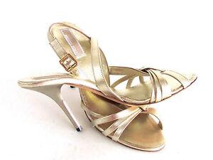 Women-039-s-Shoes-Sandals-Designer-Michael-Kors-Metallic-Gold-Strappy-Sandals-8-5M