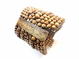 UNISEX-BROWN-WOODEN-BEADED-LAYERED-BRACELET-UNIQUE-BRAND-NEW-AZTEC-TRIBAL-B4