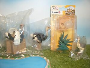 SCHLEICH-OSTRICH-14610-FEMALE-14325-CHICK-14398-amp-NEST-42247-SET-OF-4-NEW