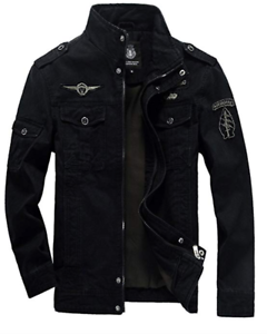 Mens-Jacket-Aviator-Jacket-Transition-Jacket-Bomber-Jacket-Military-Pilot-Jeans