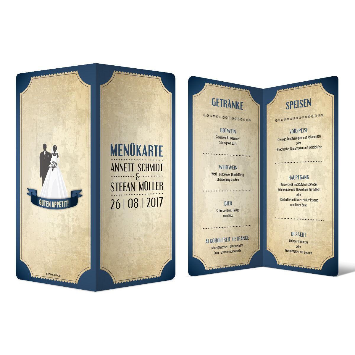 Menükarten Hochzeit -  Vintage Brautpaar in Blau - Speisekarte Getränkekarte | Stabile Qualität  | Sehr gelobt und vom Publikum der Verbraucher geschätzt