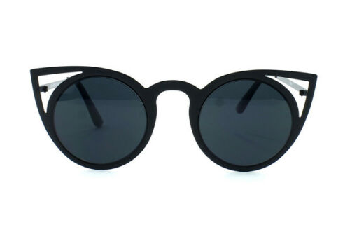 CAT EYE POINTY CUT OUT METAL FRAME TRENDY FASHION BLOGGER WOMEN ROUND SUNGLASSES