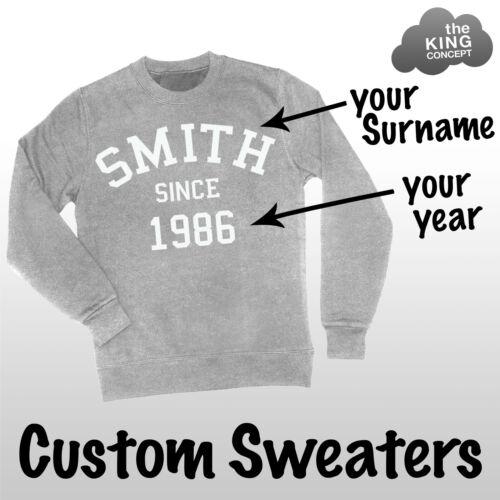 Custom Sweatshirt Personalised Jumper Sweater Pullover Your Name Varsity College
