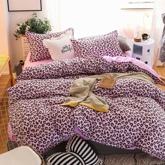 4pcs Leopard-printing Pink Bedding Set Duvet Quilt Cover+Sheet+Pillow Cases E12